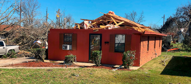 tornado damage house in Columbus, MS